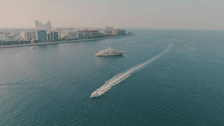 Aerial view of cruising motorboat 스톡 콘텐츠