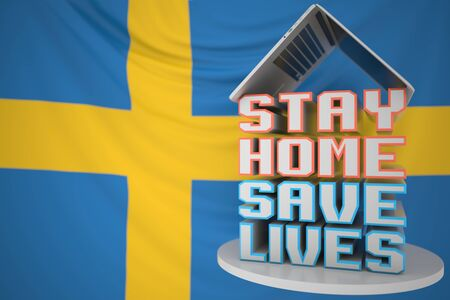 STAY HOME SAVE LIVES text and open laptop against the flag. COVID-19 outbreak self-isolation 3D Stockfoto