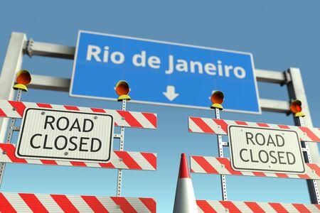 Traffic barricades near the city traffic sign. Quarantine or lockdown related 3D