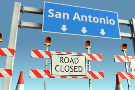 Barriers near San Antonio city traffic sign. Coronavirus disease quarantine or lockdown in the United States conceptual 3D rendering