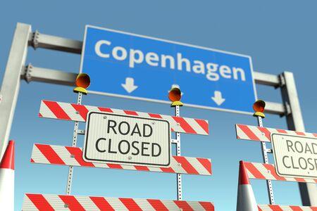 Roadblock near the city traffic sign. Quarantine or lockdown related 3D