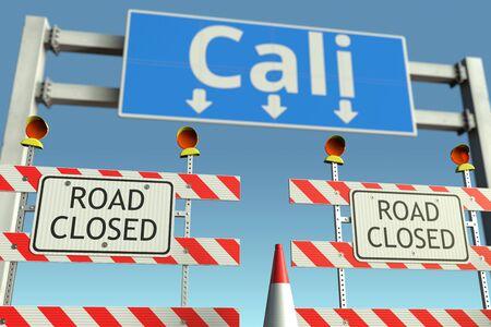 Roadblocks near Cali city traffic sign. Coronavirus disease quarantine or lockdown in Colombia conceptual 3D rendering Stock Photo