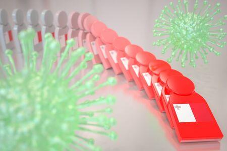 Viruses and falling dominoes with flag of Malta. Coronavirus spread conceptual 3D rendering