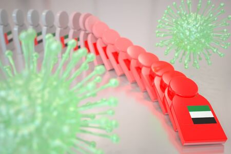 Viruses and falling dominoes with flag of the United Arab Emirates UAE. Coronavirus spread conceptual 3D rendering