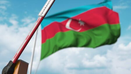 Opening boom barrier with QUARANTINE sign against the Azerbaijani flag. Lockdown end in Azerbaijan. 3D rendering 版權商用圖片