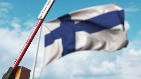 Opening boom barrier with QUARANTINE sign against the Finnish flag. Lockdown end in Finland. 3D rendering