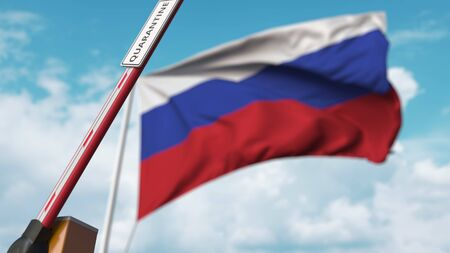 Barrier gate with QUARANTINE sign being open with flag of Russia as a background. Russian Lockdown end. 3D rendering Stock Photo
