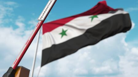 Open boom gate with QUARANTINE sign on the Syrian flag background. Unrestricted entry in Syria. 3D rendering