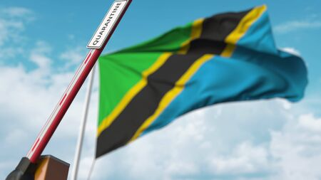 Opening boom barrier with QUARANTINE sign against the Tanzanian flag. Unrestricted entry in Tanzania. 3D rendering