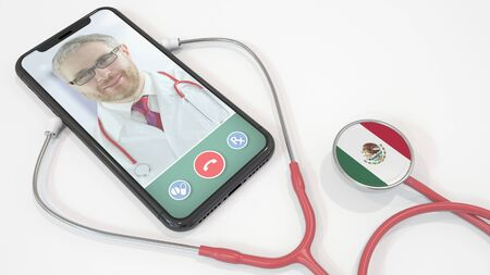 Doctors video call on the phone and stethoscope bell with the Mexican flag. Telemedicine in Mexico. 3D rendering