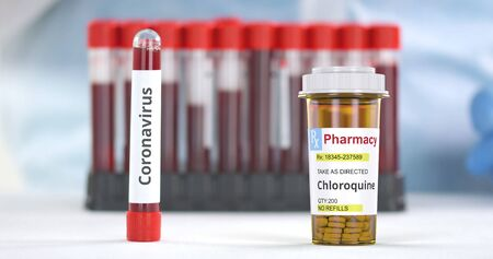 Vial with coronavirus test and prescription bottle with chloroquine generic pills on the table. 3D rendering