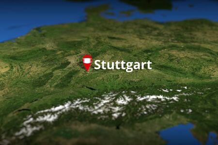 Stuttgart, Germany geotag with face mask, coronavirus disease quarantine related 3D rendering