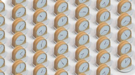 Many same wooden clocks showing different time. Conceptual 3D rendering
