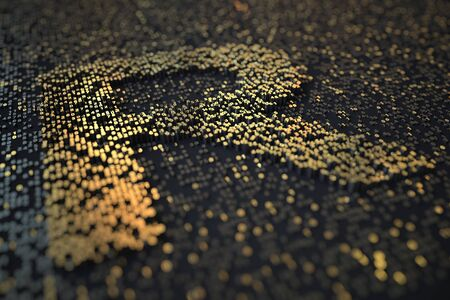 Golden numbers bars compose ZAR South African rand symbol on black background. 3D rendering