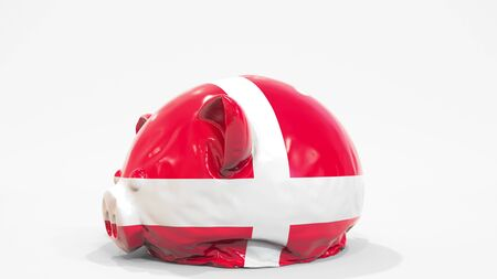 Deflating inflatable piggy bank with printed flag of Denmark. Danish financial crisis related conceptual 3D rendering
