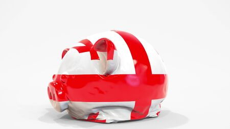 Deflating inflatable piggy bank with printed flag of Georgia. Georgian financial crisis related conceptual 3D rendering