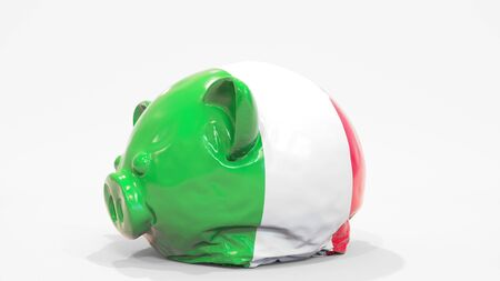 Deflating inflatable piggy bank with flag of Italy. Italian financial crisis related conceptual 3D rendering 写真素材