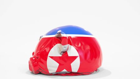 Deflating inflatable piggy bank with printed flag of North Korea. Crisis related conceptual 3D rendering