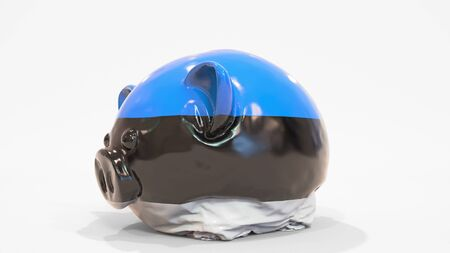 Deflating inflatable piggy bank with flag of Estonia. Estonian financial crisis related conceptual 3D rendering