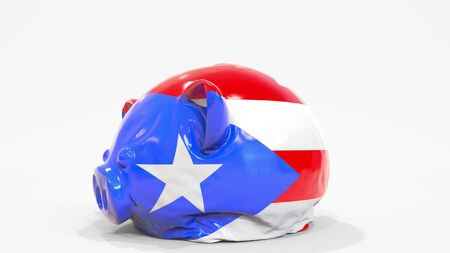 Deflating inflatable piggy bank with printed flag of Puerto Rico. Puerto Rican financial crisis related conceptual 3D rendering 写真素材