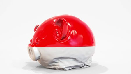 Deflating inflatable piggy bank with printed flag of Indonesia. Indonesian financial crisis related conceptual 3D rendering 写真素材