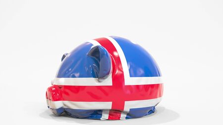 Deflating inflatable piggy bank with printed flag of Iceland. Icelandic financial crisis related conceptual 3D rendering 写真素材