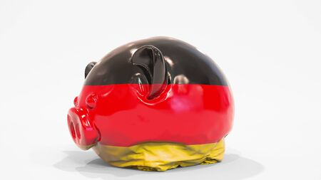 Deflating inflatable piggy bank with printed flag of Germany. German financial crisis related conceptual 3D rendering 写真素材