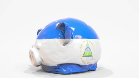 Deflating inflatable piggy bank with printed flag of Nicaragua. Nicaraguan financial crisis related conceptual 3D rendering