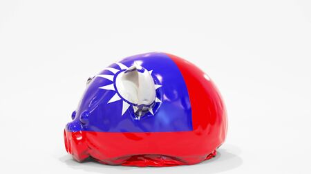 Deflating inflatable piggy bank with printed flag of Taiwan. Taiwanese financial crisis related conceptual 3D rendering