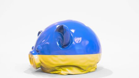 Deflating inflatable piggy bank with flag of Ukraine. Ukrainian financial crisis related conceptual 3D rendering