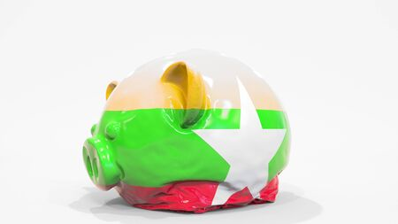 Deflating inflatable piggy bank with printed flag of Myanmar. Myanma financial crisis related conceptual 3D rendering
