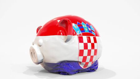 Deflating inflatable piggy bank with flag of Croatia. Croatian financial crisis related conceptual 3D rendering