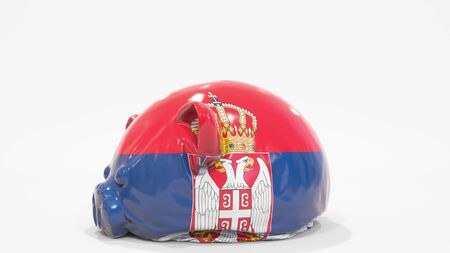 Deflating inflatable piggy bank with printed flag, 3D