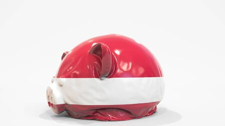 Deflating inflatable piggy bank with flag of Latvia. Latvian financial crisis related conceptual 3D rendering 写真素材