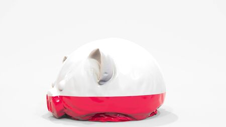Deflating inflatable piggy bank with printed flag of Poland. Polish financial crisis related conceptual 3D rendering