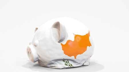 Deflating inflatable piggy bank with flag of Cyprus. Cypriot financial crisis related conceptual 3D rendering