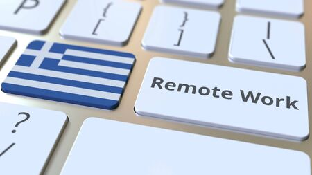Remote Work text and flag of Greece on the computer keyboard. Telecommuting or telework related conceptual 3D rendering
