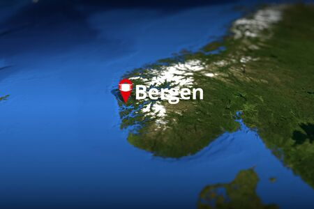 Bergen, Norway red city geotag with face mask, COVID-19 coronavirus disease self-isolation related 3D rendering