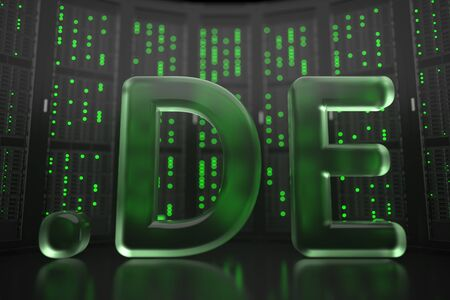 German domain .de on server room background. Internet in Germany related conceptual 3D rendering Stock Photo