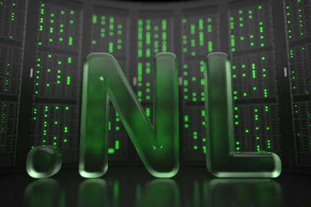 Domain .nl on server room background. Internet in the Netherlands related conceptual 3D rendering