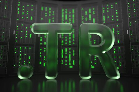 Turkish domain .tr on server room background. Internet in Turkey related conceptual 3D rendering