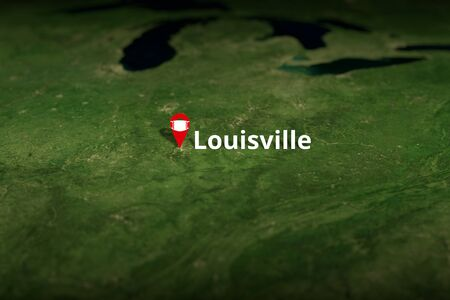 Louisville, United States geotag with face mask, coronavirus disease self-isolation related 3D rendering