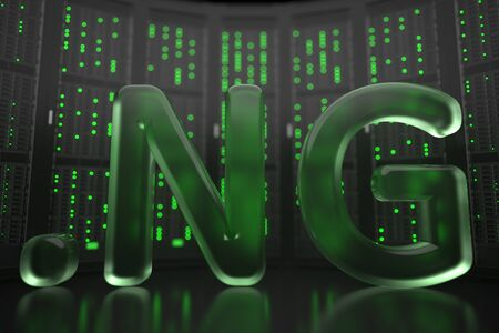 Nigerian domain .ng on server room background. Internet in Nigeria related conceptual 3D rendering 写真素材