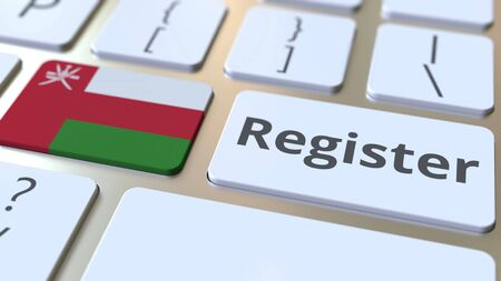 Register text and flag of Oman on the keyboard. Online services related 3D rendering Foto de archivo
