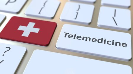 Telemedicine text and flag of Switzerland on the computer keyboard. Remote medical services related conceptual 3D rendering