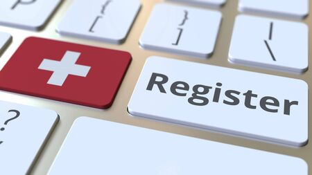 Register text and flag of Switzerland on the keyboard. Online services related 3D rendering