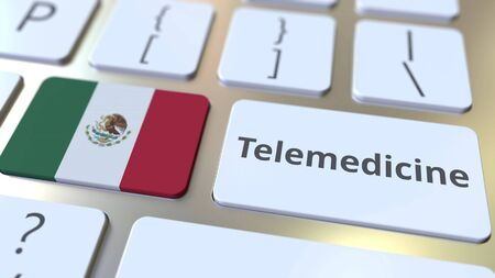Telemedicine text and flag of Mexico on the computer keyboard. Remote medical services related conceptual 3D rendering Banque d'images