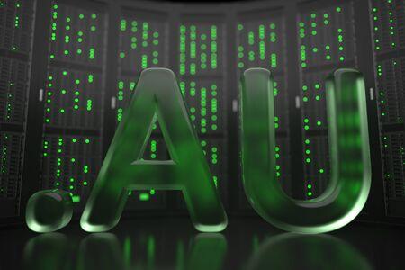 Australian domain .au on server room background. Internet in Australia related conceptual 3D rendering