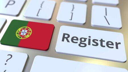 Register text and flag of Portugal on the keyboard. Online services related 3D rendering