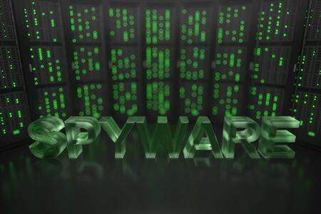 SPYWARE text on server room background. Conceptual 3D rendering